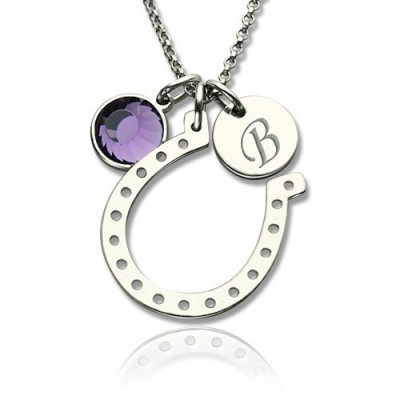 Solid Gold Horseshoe Good Luck Necklace with Initial Birthstone Charm
