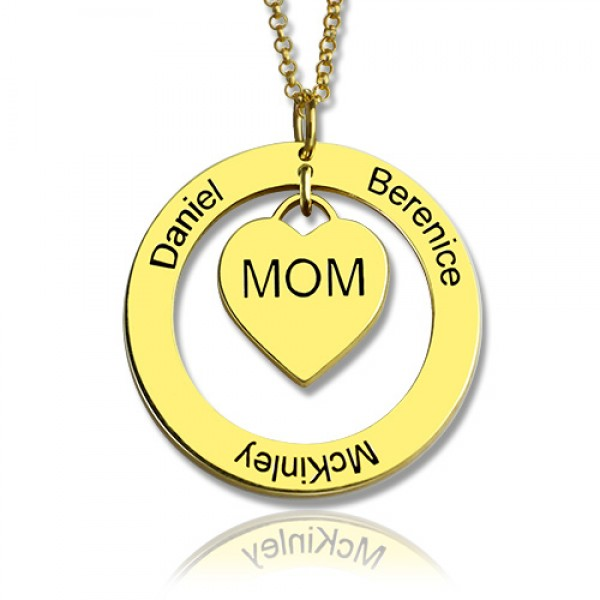 Family Names Necklace For Mom 18CT Gold Plating