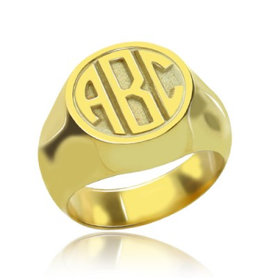 Customised Signet Ring with Block Monogram - 18CT Gold
