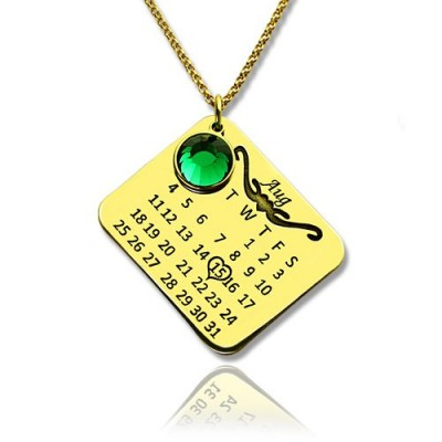Birth Day Gifts - Birthday Calendar Necklace - 18CT Gold