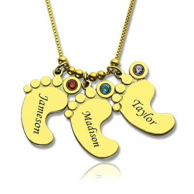 Mother Pendant Baby Feet Necklace - 18CT Gold