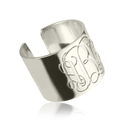 Monogram Cuff Solid Gold Ring