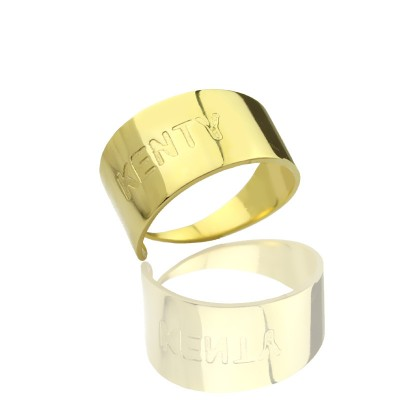 18CT Gold Name Engraved Cuff Rings