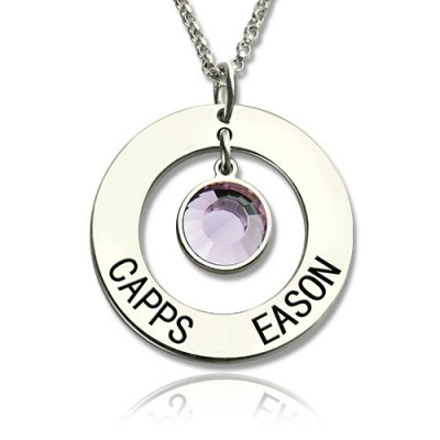 Solid White Gold Circle Name Pendant With Birthstone