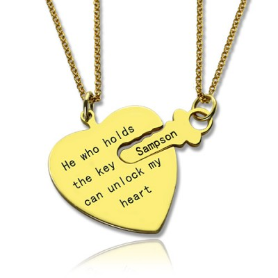 He Who Holds the Key Couple Necklaces Set - 18CT Gold