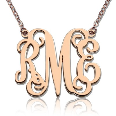 Custom 18CT Rose Gold Monogram Initial Necklace