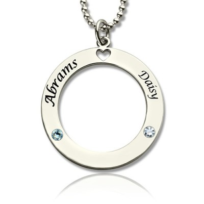 Solid Gold Engraved Circle of Love Name Necklace with Birthstone
