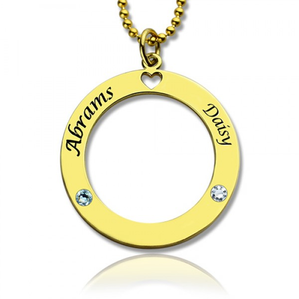 Circle of Love Name Necklace with Birthstone 18CT Gold