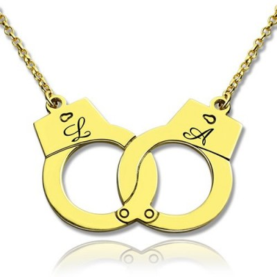 Personalised Handcuff Necklace - 18CT Gold
