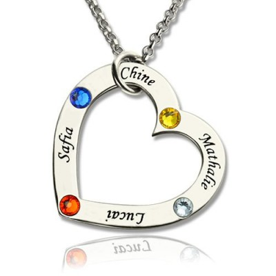 Solid Gold Mother Heart Necklace with Name Birthstone