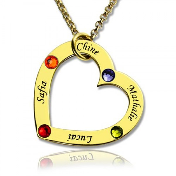 Gold Birthstone Heart Necklace For Mother