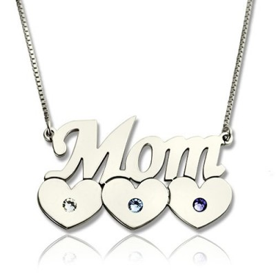 Solid Gold Mother Name Necklace With Children Birthstone