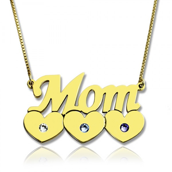 Moms Necklace With Children Birthstone - 18CT Gold