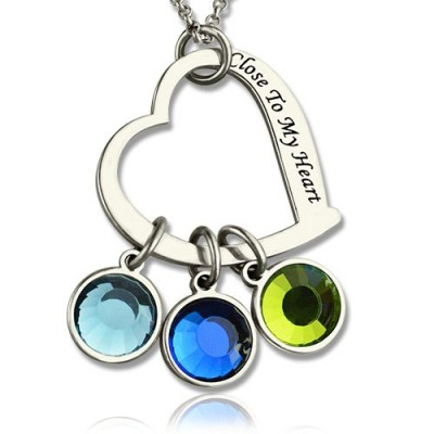 Solid Gold Open Heart Promise Phrase Necklace with Birthstone