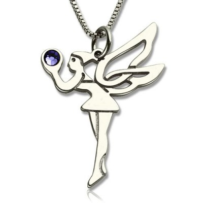 Solid Gold Fairy Birthstone Necklace for Girls