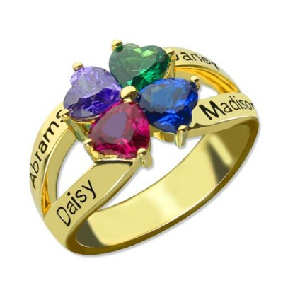 Family Ring for Mom Four Clover Hearts - 18CT Gold