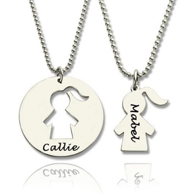 Solid Gold Mother Daughter Necklace Set Engraved Name