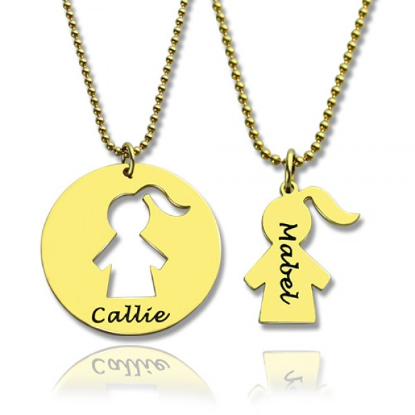 Mother and Child Necklace Set with Name - 18CT Gold