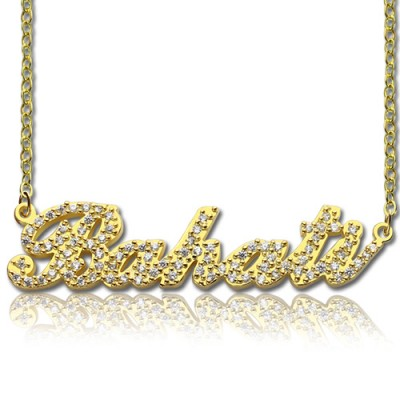 18CT Gold Full Birthstone Carrie Name Necklace