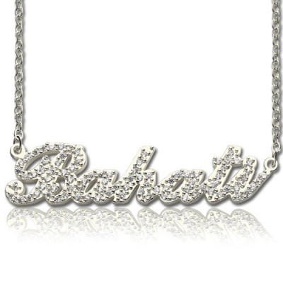 18CT White Gold Full Birthstone Carrie Name Necklace