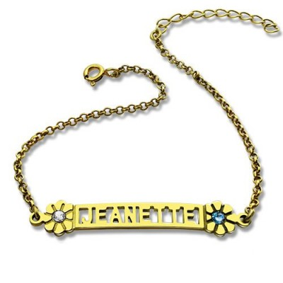 Personalised Birthstone Name Bracelet for Her - 18CT Gold