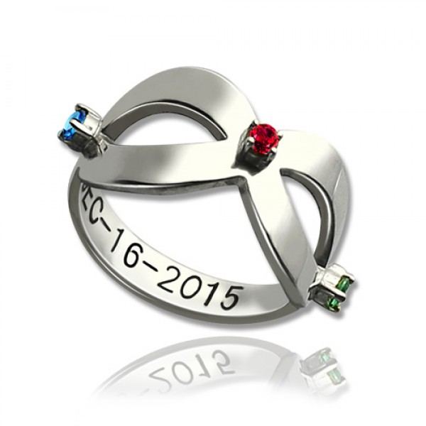 Infinity Birthstones Solid White Gold Ring Engraved Date