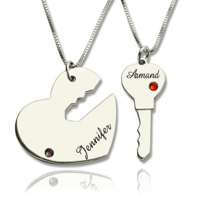 Solid Gold Key to My Heart Name Pendant Set For Couple