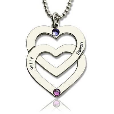 Solid White Gold Double Heart Necklace Engraved Name