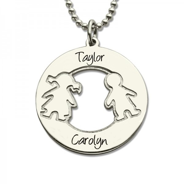 Solid White Gold Circle Necklace With Engraved Children Name Charms