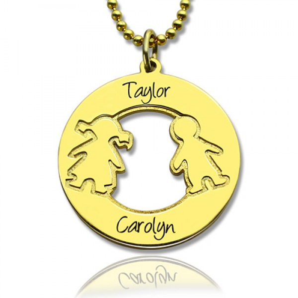 Circle Name Necklace Engraved Children Name Charms 18CT Gold