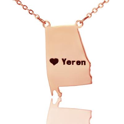 Custom Alabama State USA Map Necklace - Rose Gold