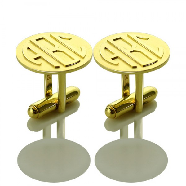 Cool Mens Cufflinks with Monogram Initial - 18CT Gold