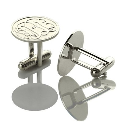 Solid White Gold Engraved Cufflinks with Monogram