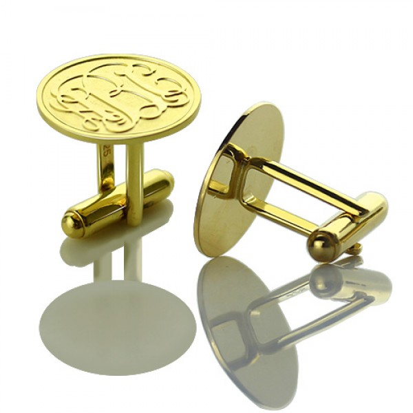 Engraved Cufflinks with Monogram - 18CT Gold