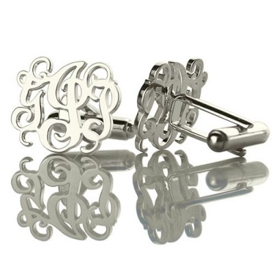 Solid White Gold Cufflinks with Monogram