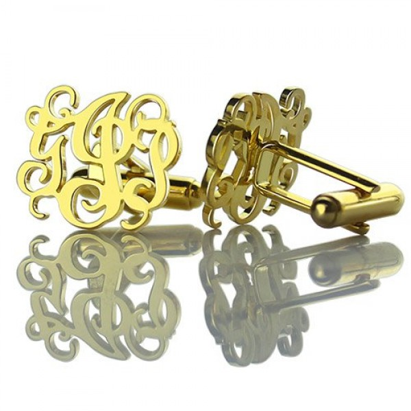 Monogrammed Cuff links Cut Out Initials - 18CT Gold