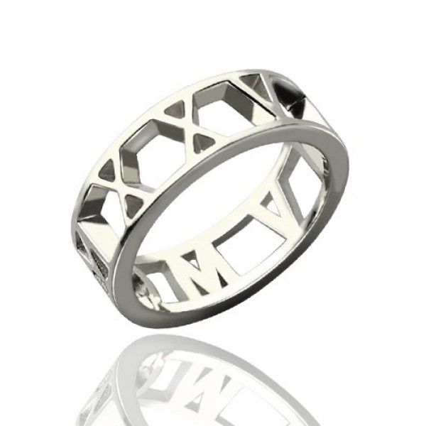 Roman Numerals Open Solid White Gold Rings