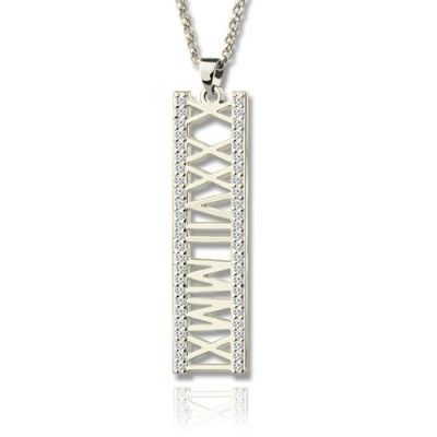 Solid Gold Roman Numeral Vertical Necklace With Birthstones