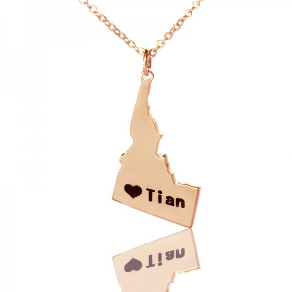 Idaho State USA Map Necklace - Rose Gold