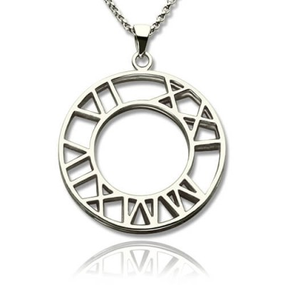 Solid White Gold Double Circle Roman Numeral Necklace Clock Design