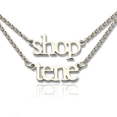 18CT White Gold Double Layer Mini Name Necklace