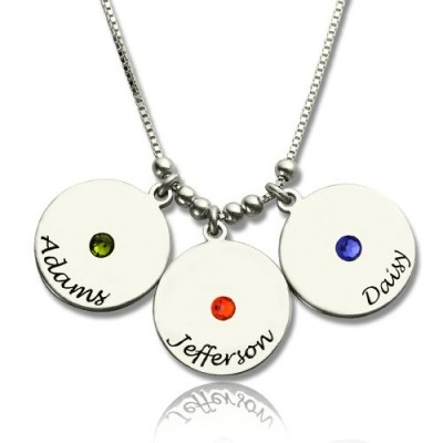 Solid Gold Mother's Disc and Birthstone Charm Necklace