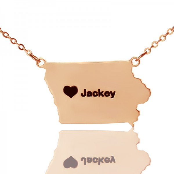 Iowa State USA Map Necklace - Rose Gold