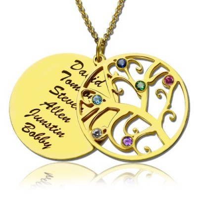 18CT Gold Family Tree Birthstone Name Necklace
