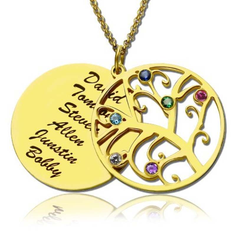 1435 800x800g 18ct gold family tree birthstone name necklace aloadofball Gallery