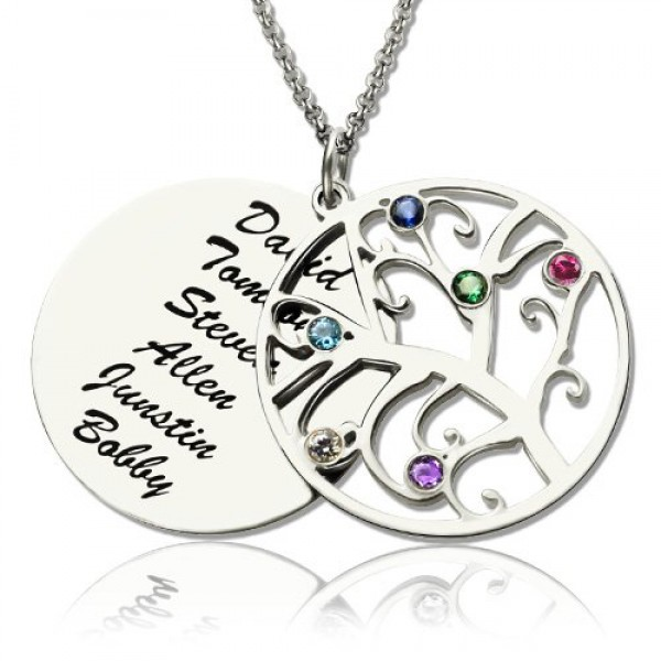 Solid Gold Family Tree Pendant Name Necklace With Birthstone