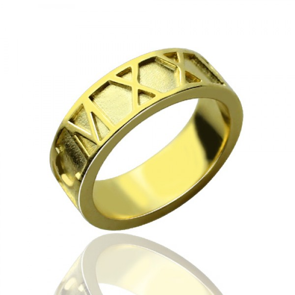 18CT Gold Roman Numeral Date Rings