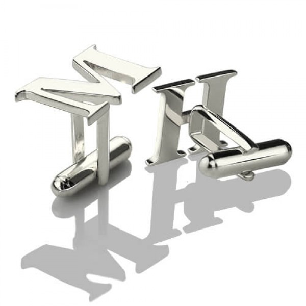Solid White Gold Best Designer Cufflinks with Initial