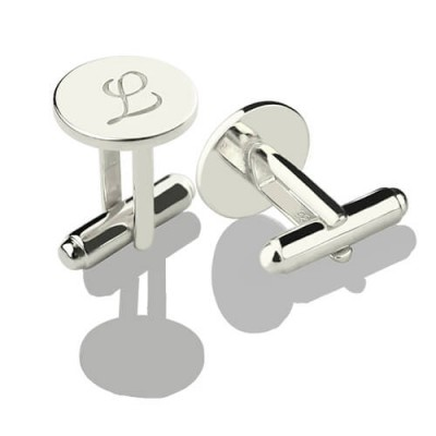 Solid White Gold Cool Initial Cuff links