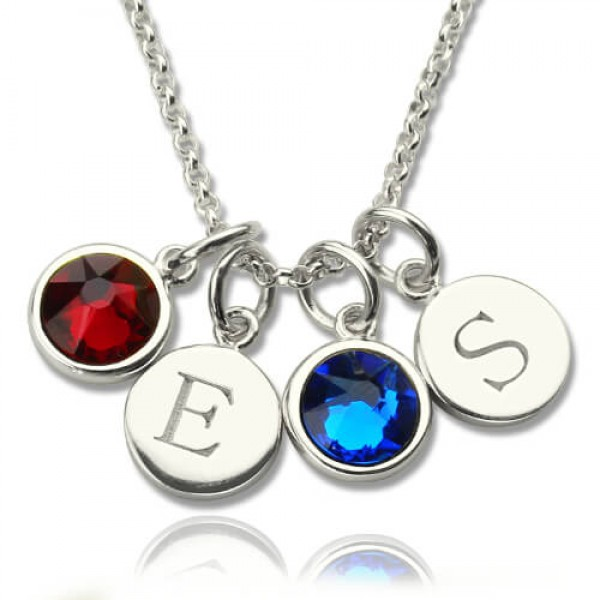 Solid Gold Double Initial Charm Necklace with Birthstone